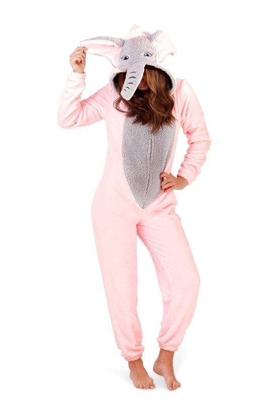 Loungeable Pink & Grey Novelty 3D Elephant Onesie