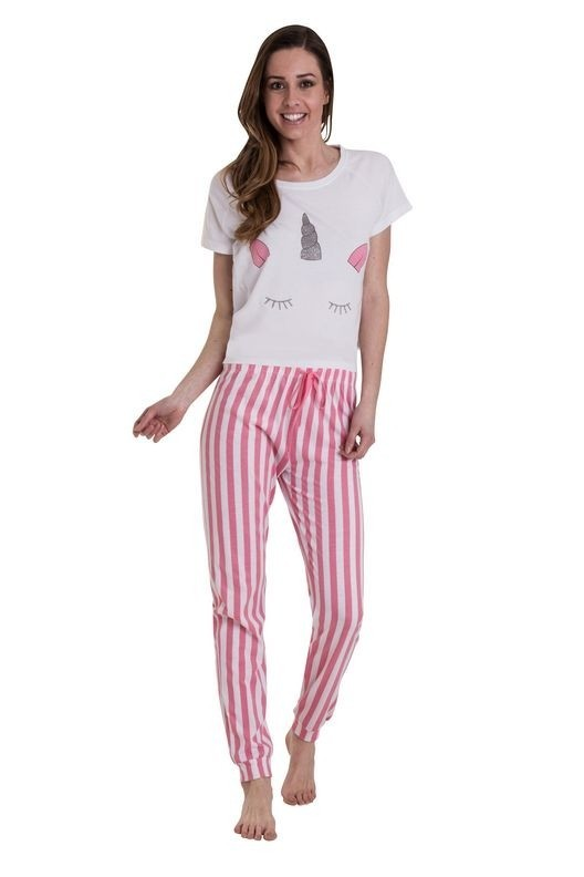 Loungeable Pink Striped Metallic Unicorn Pyjama Set