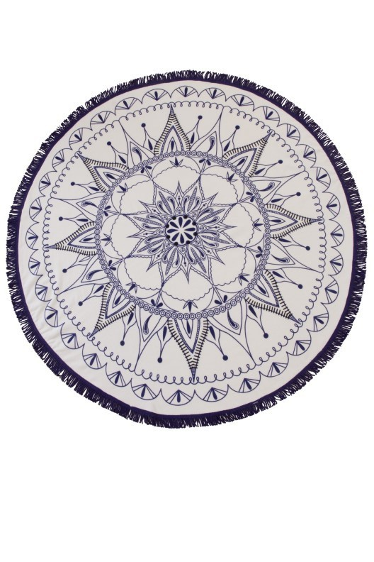 White & Navy Mandala Print Round Beach Towel
