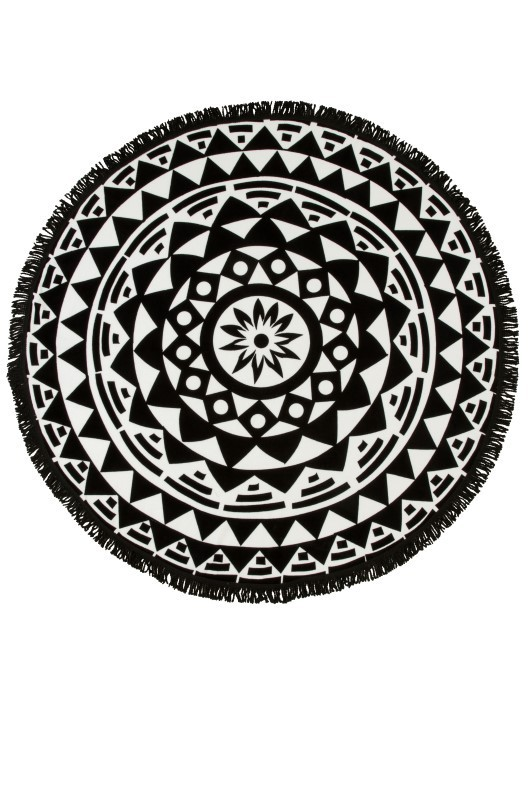 Black & White Geometric Round Beach Towel