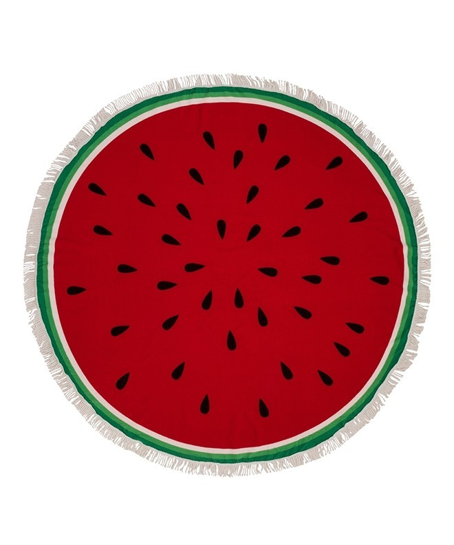 Ibiza Red Watermelon Round Beach Towel