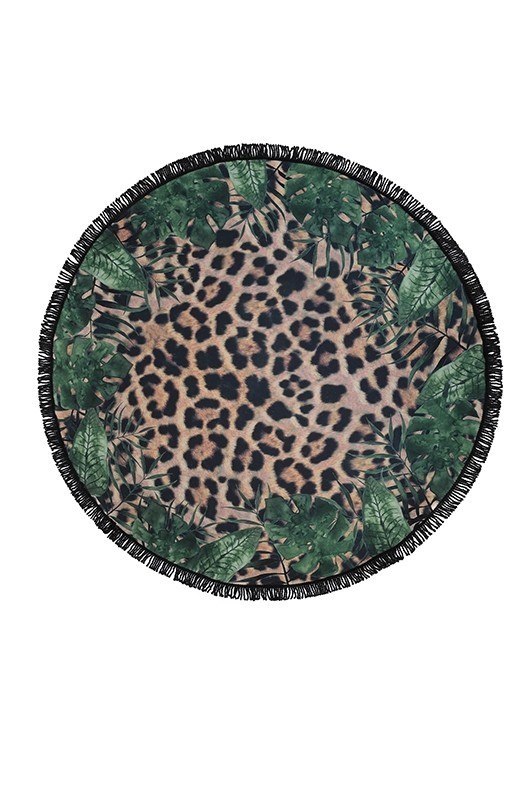 Animal & Leaf Mixed Print Round Towel
