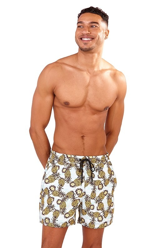 Recycled Pineapple Print Swim Shorts