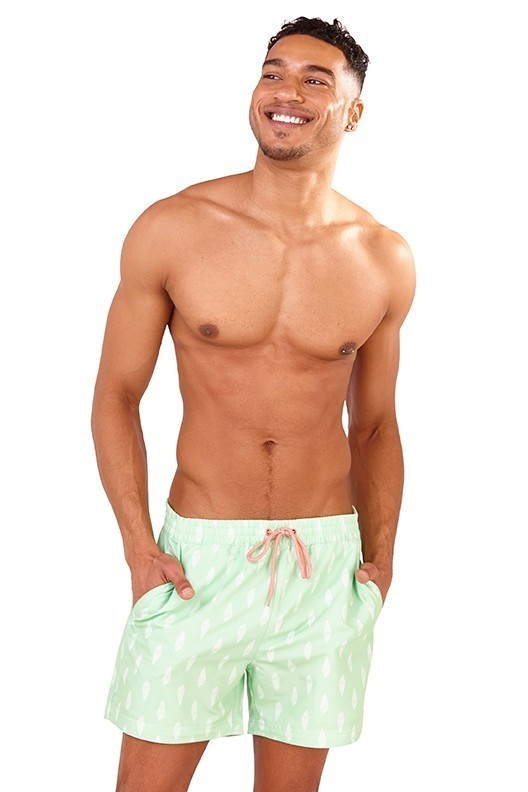 Recycled Pastel Green Ice Cream Print Swim Shorts