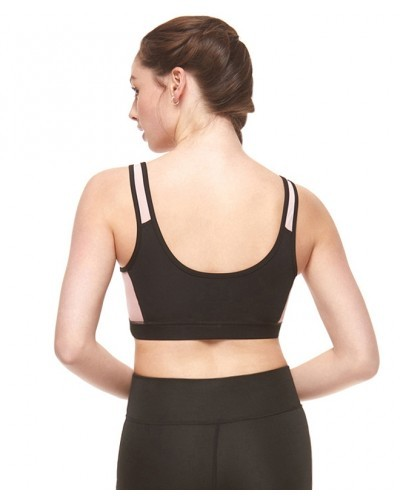 4027f62c8a4 Black & Rose Mesh Insert Zip Up Fitness Cropped Top