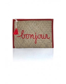 Straw Slogan Bonjour Clutch Bag