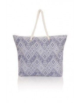 Blue Diamond Print Tote Bag