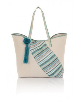 Blue/Teal Chevron Patch Pom Pom Tote Bag