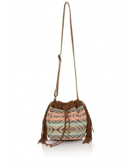 Brown Suede Pouch Bag With Pink & Blue Striped Pattern