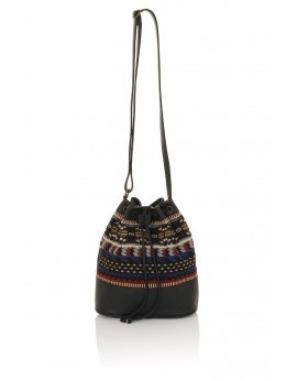Black Multi Pattern Faux Leather Trim Bucket Bag