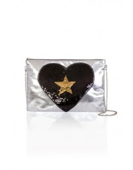 Sequinned Silver Black Heart Clutch Bag