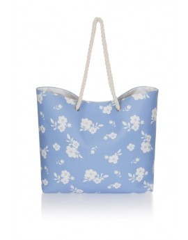 Blue & White Floral Canvas Beach Bag