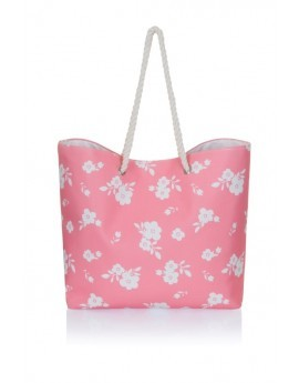 Coral & White Floral Canvas Beach Bag