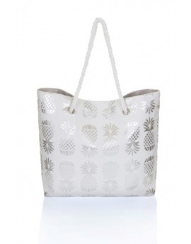 Metallic Silver Pineapple Print Tote Beach Bag