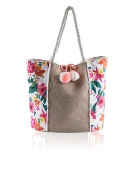 White & Multicoloured Floral Tote Bag