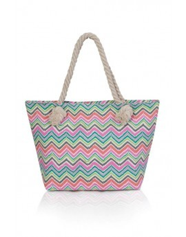 Multicoloured Geo Waves Tote Beach Bag