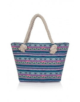 Multicoloured Geo Print Tote Beach Bag