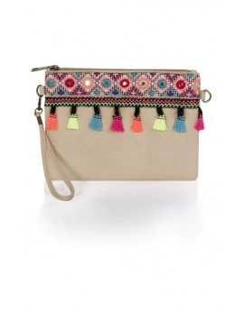 Cream Embroidered Tassel Clutch Bag