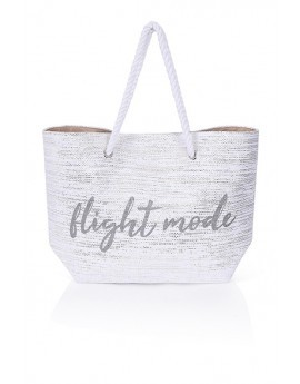 White Metallic 'Flight Mode' Slogan Tote Bag