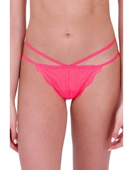 Neon Coral Lace Strappy Thong