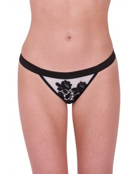Black Satin Embroidered Tanga Briefs