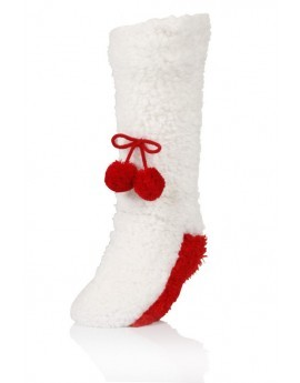 Cream & Red Pom-Pom Socks