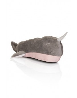 Grey Narwhal Whale Slipper