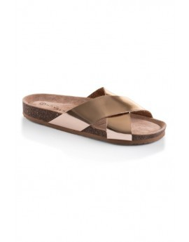 Rose Gold Cross Front Slider Sandals