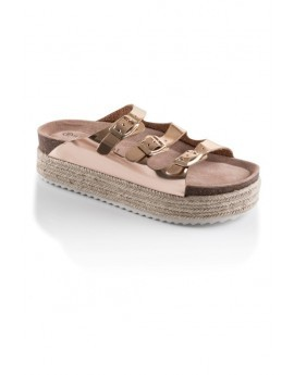 Rose Gold Buckle Platform Slider Sandals