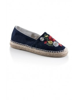 Blue Floral Embroidered Espadrilles