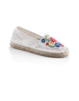White Floral Embroidered Espadrilles