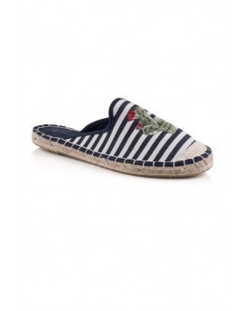 Navy & White Cactus Embroidered Striped Espadrilles