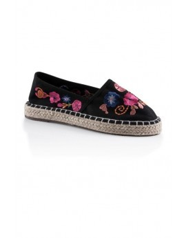 Black Floral Embroidered Espadrilles