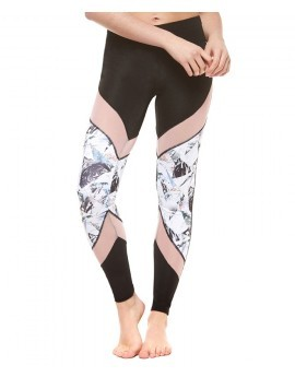 Shard Printed Mesh Panel Fitness Leggings