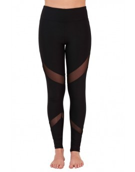 Black Mesh Inset Fitness Leggings