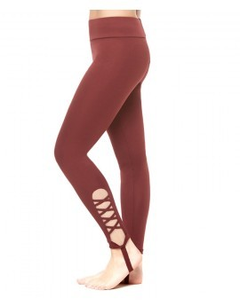 Burgundy Cut Out Stirrup Fitness Leggings