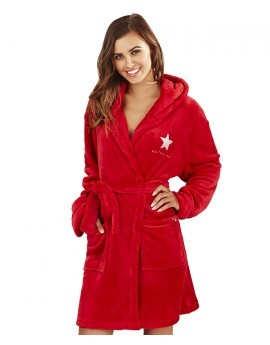 Emily Luxury Fleece Hooded Logo Robe- Red