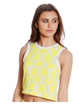Gail Lemon Flower Lace Crop Top