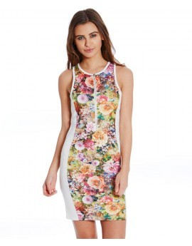 Sierra Sensory Floral Zip Front Bodycon Dress
