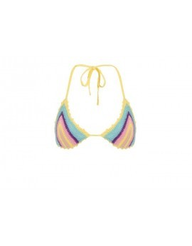 Multi Colored Stripe Cotton Crochet Triangle Bikini Top