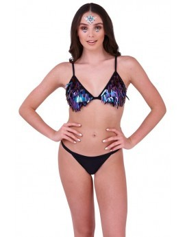 Bestival Black Sequinned Triangle Bikini Set