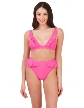 Olivia Pink Frill High Waisted Bikini Set