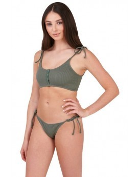 Ellie Khaki Ribbed Bikini Set
