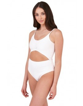 Lucy White Ribbed Cut Out Swimsuit