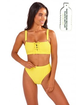 Heidi Yellow Lace Up Bikini Set