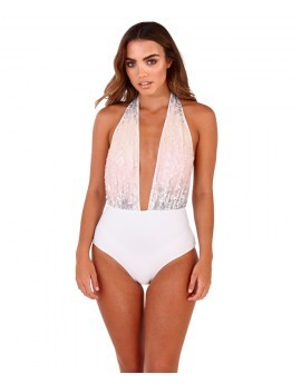 Sienna White & Pastel Sequinned Plunge Swimsuit