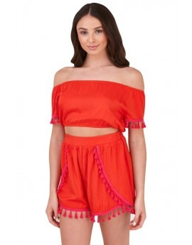 Red Bardot Top & Shorts Tassel Co-Ord Set