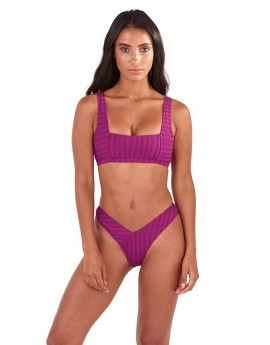 Isabelle Magenta Ribbed Square Neck Bikini Set