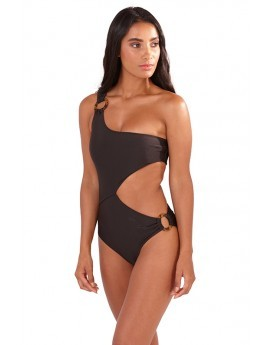 Kylie Black One Shoulder Cut Out Swimsuit