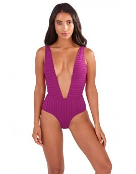 Lottie Magenta Ribbed Super Plunge Swimsuit